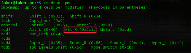 查看 Alt_R 是作为 mode1 使用的